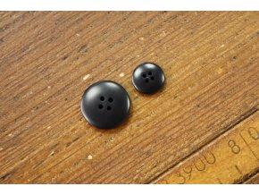 Oblekový knoflík v černé barvě, 15mm a 24mm
