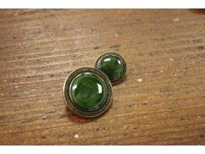 Zelený knoflík se starostříbrným okrajem, 16mm a 23mm