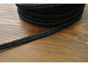 """Černý  provaz """"copánek"""" s lurexem, 10mm"""