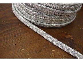 """Stříbrný  provaz """"copánek"""" s lurexem, 10mm"""