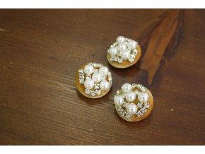 Hořčicový sametový knoflík s perly
