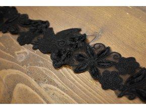 Černá luxusní krajka se sametem design Dior, 5cm
