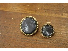 Tmavě šedý knoflík se starozlatým prstencem