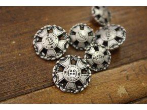 Stříbrný  knoflík s maltským křížem, 15mm a 20mm