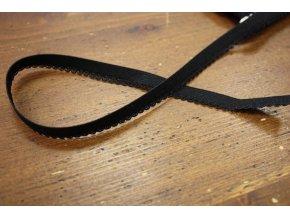 Černá gumička s krajkovým okrajem, 10mm