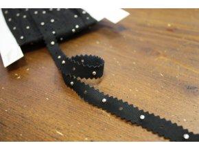 Černý semišový prýmek s druky, 12mm