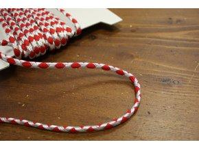 Stříbrno-červený provaz, 6mm