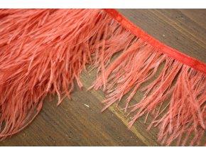 Luxusní porta - pštrosí peří v korálové barvě