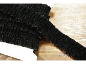 Černá sametová řasená guma, 36 mm