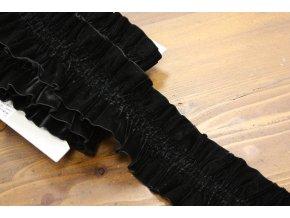 Černá sametová řasená guma, 75 mm