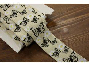 Béžová guma s motýlky, 5cm