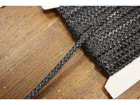 Černý koženkový prýmek, 7mm