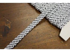 Černo-bílý plochý provaz, 1cm