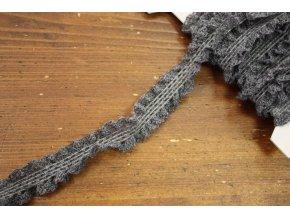 Šedý volánkový elastický prýmek, 23mm