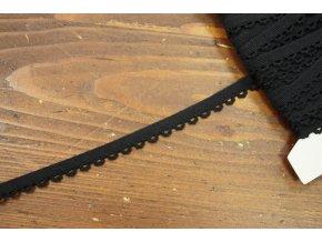 Černá měkká guma se zdobným okrajem, 10mm