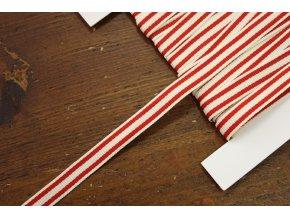 Pruhovaná smetanovo-červená rypsová stuha, 10mm