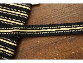 Černý prýmek se zlatým zdobením, 22mm