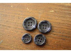 Čtyřdírkový modrý knoflík s melírem, 4 velikosti
