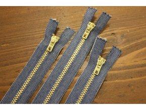 Džínový zip se zlatým kovem, 18cm