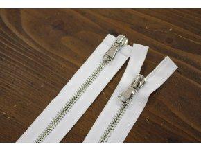 Bílý zip se stříbrným kovem s dva jezdci, 60cm
