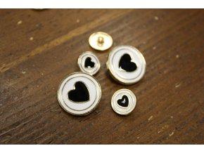Zlatý knoflík s černým srdcem, 25mm a 15mm