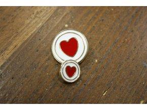 Zlatý knoflík s červeným srdcem, 25mm a 15mm