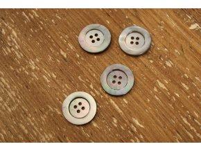 Perleťový šedý knoflík, 25 mm