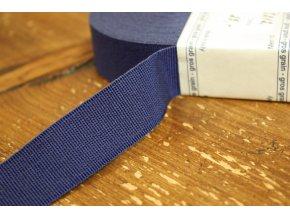 Tmavě modrá rypsová stuha, 25 mm