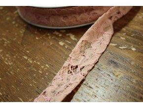 Šikmý proužek z růžové krajky Valentino, 25mm