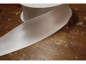 Saténový šikmý proužek, bílý 40mm