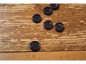 Modrý lesklý knoflík, 17mm