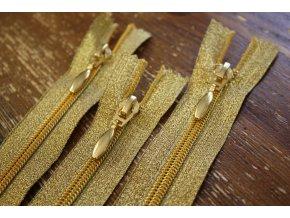 Zlatý  zip, 16 cm, 50 cm