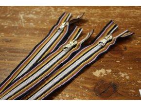 Pruhovaný nedělitelný zip, 20  cm
