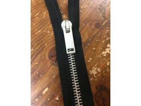 Výrazný černý zip se stříbrným kovem T8, 50 cm, 62 cm, 65 cm, 108 cm