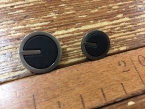 Černý kovový knoflík, 15mm a 20mm