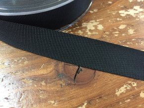 Černá lesklá rypsová stuha, 16mm