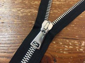 Dělitelný černý zip se stříbrným kovem 90cm
