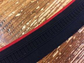 Úzký černý náplet s červeným pruhem