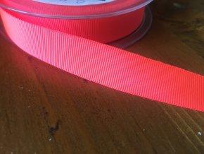 Neonově růžová rypsová stuha, 16 mm