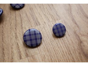 Kostkovaný modrý knoflík, 17mm,  22 mm