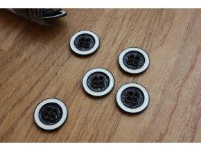 Kovový černobílý knoflík, 20 mm