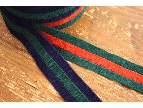 Pruhovaná sametová guma vzor Gucci