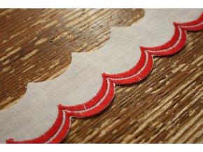 Bavlněná madeira- červené volánky