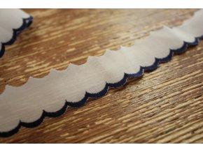 Bavlněná madeira- modré volánky