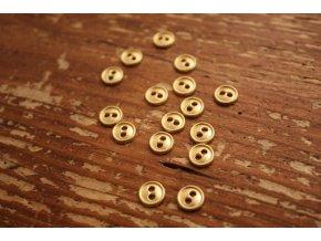 Zlatý dvoudírkový knoflík, 8mm