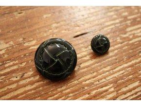 Tmavě zelený knoflík imitace kůže, 3 velikosti