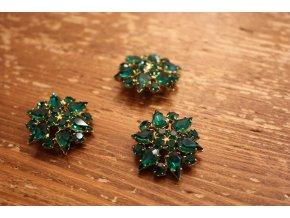 Smaragdový štrasový knoflík design Dior