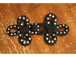 Černé textilní zapínání s perličky