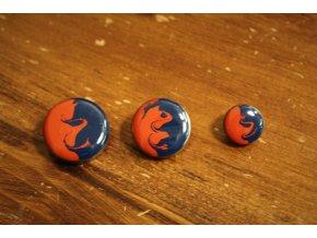 Smaltovaný knoflík modro-oranžový, design Marni