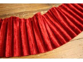 Červená sametová plisovaná bordura
